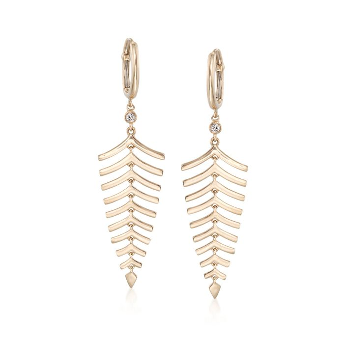 Roberto Coin 18kt Yellow Gold Leaf Earrings with Diamond Accents , , default