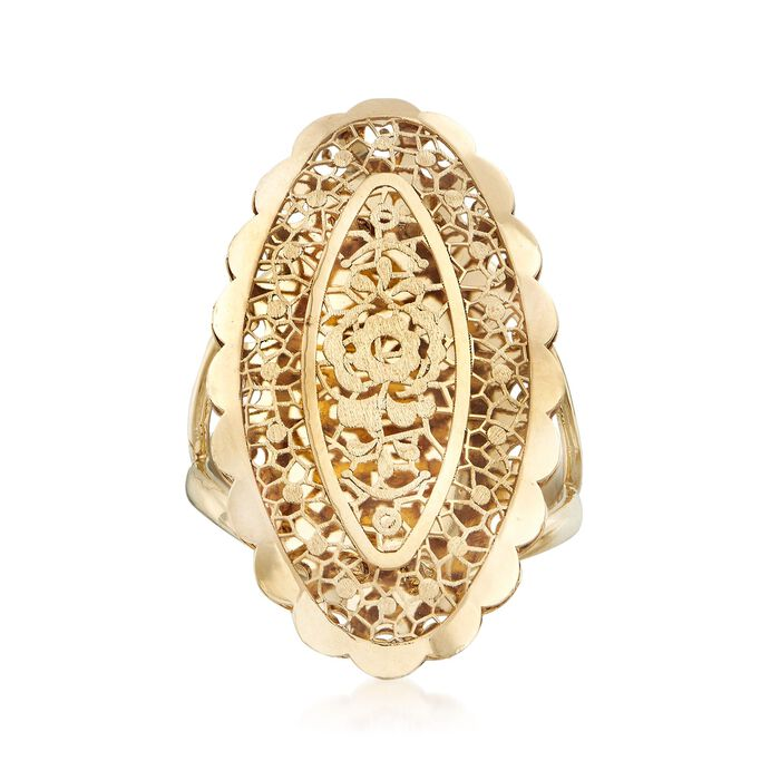 Italian 18kt Yellow Gold Floral Openwork Oval Ring, , default