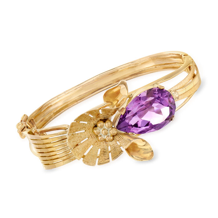 "C. 1960 Vintage 16.00 Carat Amethyst Flower Bangle Bracelet in 14kt Yellow Gold. 7.5"", , default"