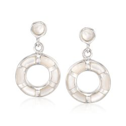 Mother-Of-Pearl Open Circle Drop Earrings in Sterling Silver, , default