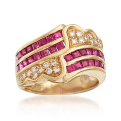 C. 1980 Vintage 1.88 ct. t.w. Ruby and .25 ct. t.w. Diamond Ring in 18kt Yellow Gold. Size 6.5, , default