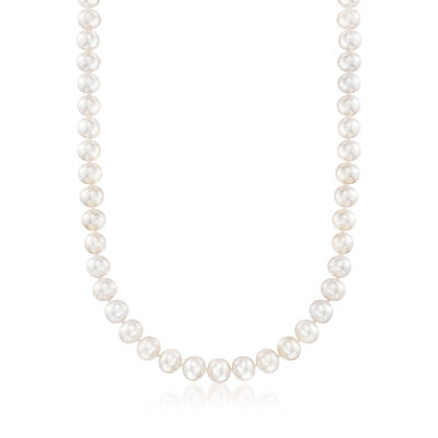 8-8.5mm Cultured Pearl Necklace with 18kt Yellow Gold, , default