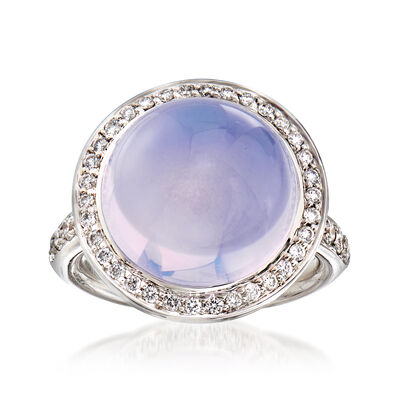 C. 2000 Vintage Mimi Milano Lavender Chalcedony and .55 ct. t.w. Diamond Ring in 18kt White Gold, , default