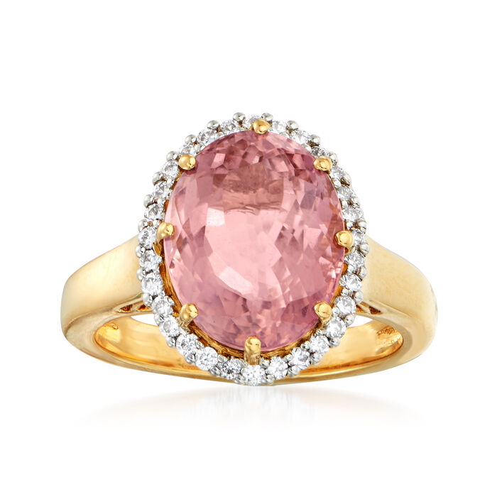 6.00 Carat Pink Tourmaline and .30 ct. t.w. Diamond Halo Ring in 18kt Yellow Gold. Size 7