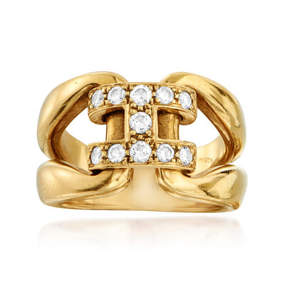 C. 1990 Vintage Hermes .35 ct. t.w. Diamond Buckle Ring in 18kt Yellow Gold, , default