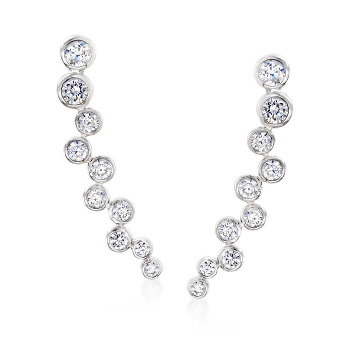 1.55 ct. t.w. Bezel-Set CZ Ear Climbers in Sterling Silver, , default