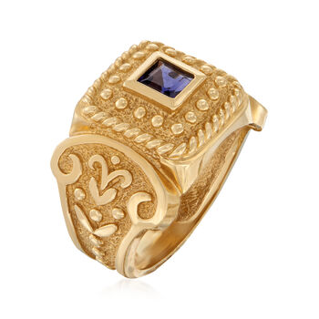 C. 1980 Vintage .30 Carat Iolite Beaded Ring in 14kt Yellow Gold. Size 7, , default