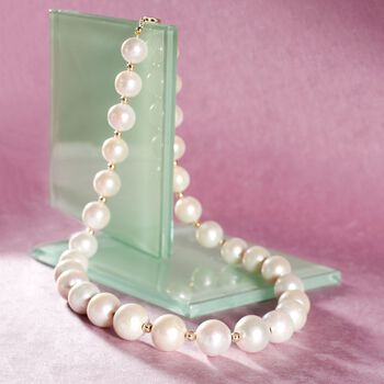 12-15mm Cultured Pearl Necklace with 14kt Yellow Gold, , default