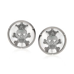 Italian Sterling Silver Skull and Crossbones Disc Earrings, , default