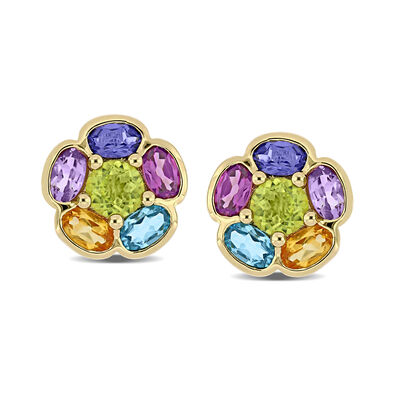 3.50 ct. t.w. Multi-Gemstone Floral Earrings in 18kt Gold Over Sterling
