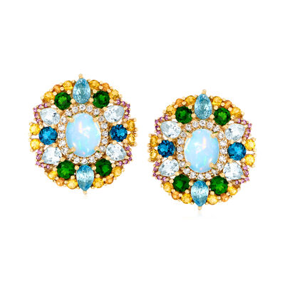 Ethiopian Opal and 8.90 ct. t.w. Multi-Gemstone Earrings in 14kt Yellow Gold, , default