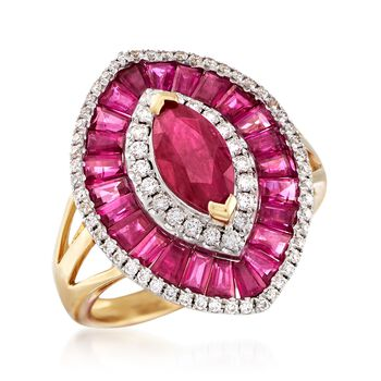 3.50 ct. t.w. Ruby and .36 ct. t.w. Diamond Ring in 18kt Yellow Gold, , default