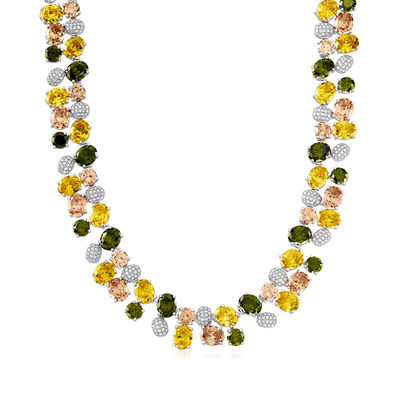 139.50 ct. t.w. Multicolored CZ Necklace in Sterling Silver, , default