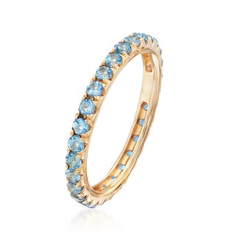 1.20 ct. t.w. Blue Topaz Eternity Band in 14kt Yellow Gold, , default