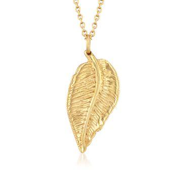 "14kt Yellow Gold Over Sterling Silver Leaf Pendant Necklace. 16"", , default"