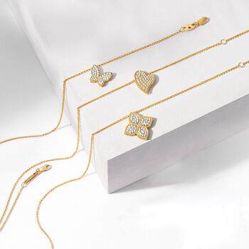 """Roberto Coin .25 ct. t.w. Diamond Butterfly Necklace in 18kt Yellow Gold. 18"""""""