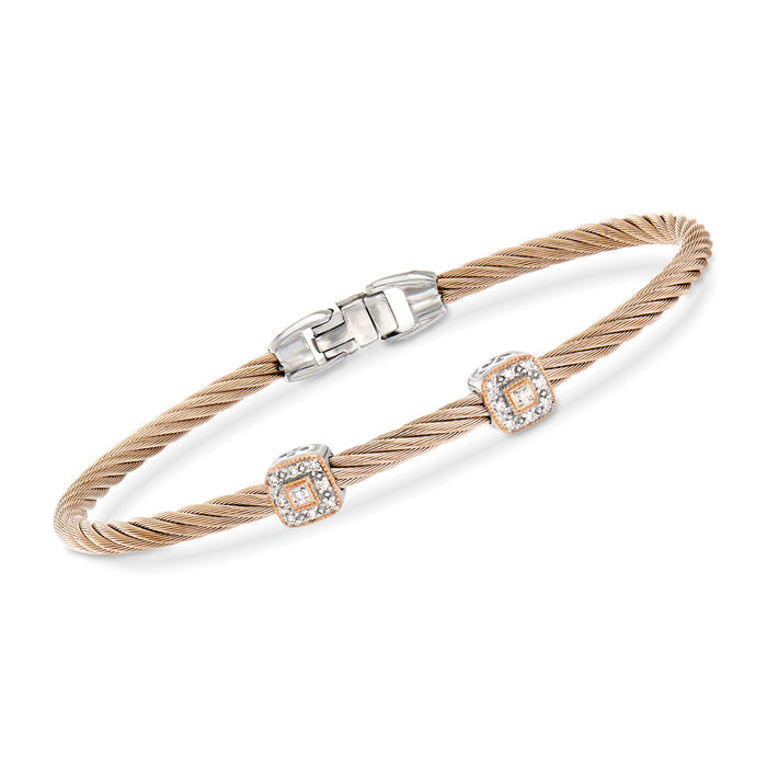 """ALOR """"Shades of Alor"""" Rose Stainless Steel Cable Station Bracelet with Diamond Accents and 18kt Two-Tone Gold"""