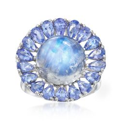 Moonstone and 2.80 ct. t.w. Tanzanite Floral Ring in Sterling Silver, , default