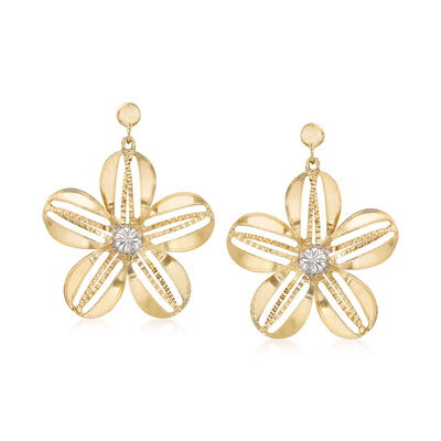 Italian Floral Earrings in Two-Tone Gold, , default