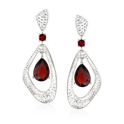 4.00 ct. t.w. Garnet Geometric Drop Earrings in Sterling Silver, , default