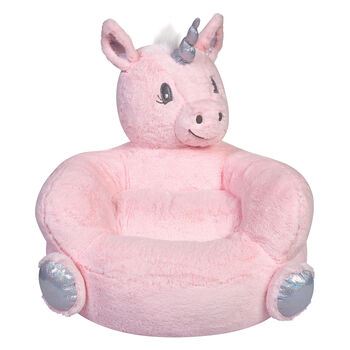 Children's Plush Pink Unicorn Chair, , default