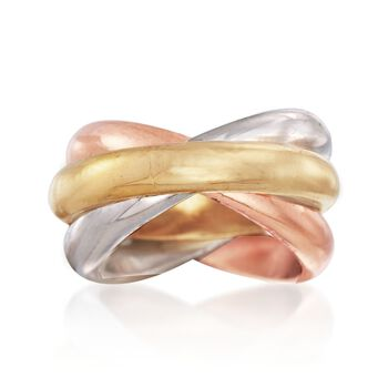 Andiamo 14kt Tri-Colored Gold Rolling Ring, , default