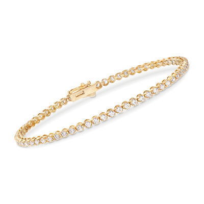 2.00 ct. t.w. CZ Tennis Bracelet in 14kt Yellow Gold, , default