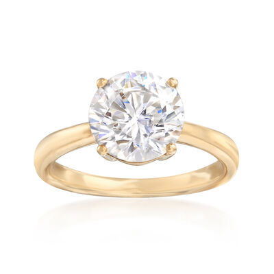 3.00 Carat CZ Solitaire Ring in 14kt Yellow Gold