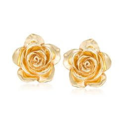 Italian 18kt Yellow Gold Rose Earrings, , default