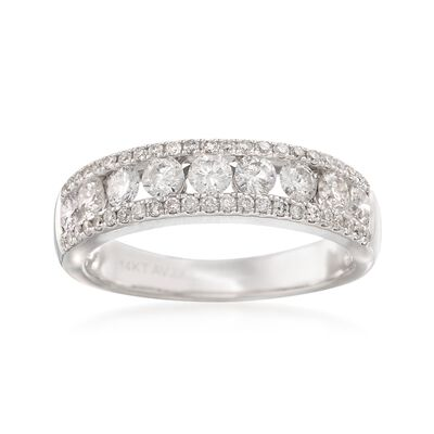 1.00 ct. t.w. Diamond Three-Row Ring in 14kt White Gold, , default
