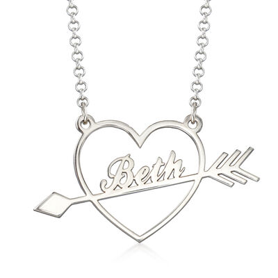 Sterling Silver Personalized Heart and Arrow Pendant Necklace, , default