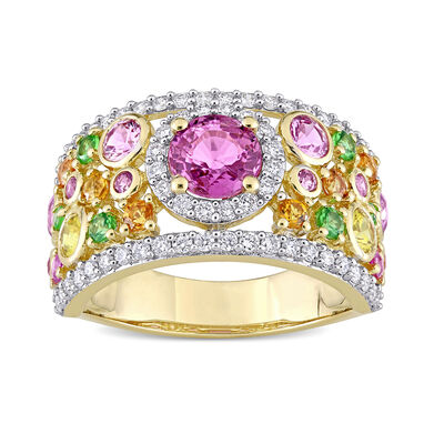 3.38 ct. t.w. Multi-Gemstone and .54 ct. t.w. Diamond Ring in 14kt Yellow Gold, , default