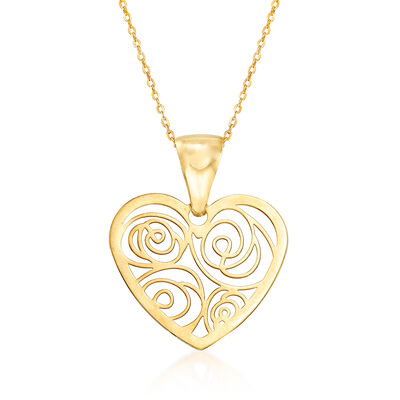 Italian Openwork Heart Pendant Necklace in 14kt Yellow Gold, , default