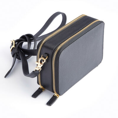 Royce Black Leather Crossbody Mini Tote