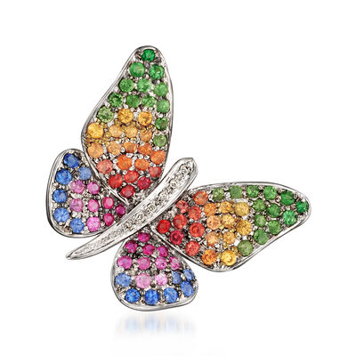 .90 ct. t.w. Multicolored Sapphire and .30 ct. t.w. Tsavorite Butterfly Pendant in 18kt White Gold, , default