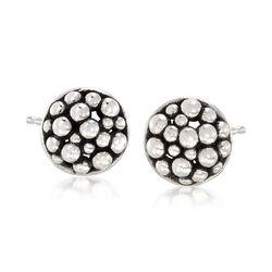 "Zina Sterling Silver ""Raindrop"" Round Stud Earrings, , default"