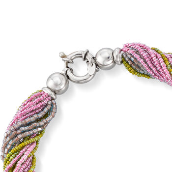 """Italian Multicolored Murano Glass Bead Torsade Necklace in Sterling Silver. 20"""""""