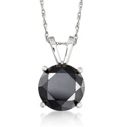 "3.00 Carat Black Diamond Solitaire Necklace in 14kt White Gold. 18"", , default"