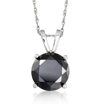 "3.00 Carat Black Diamond Solitaire Necklace in 14kt White Gold. 18"", , default"