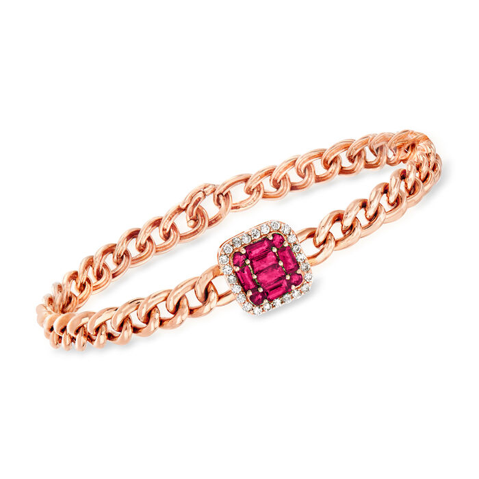 "1.10 ct. t.w. Ruby and .28 ct. t.w. Diamond Cuban-Link Bracelet in 14kt Rose Gold. 7"", , default"