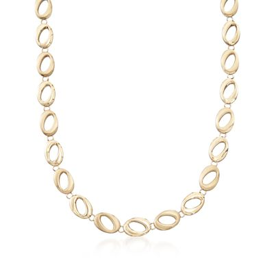 14kt Yellow Gold Brushed and Polished Abstract Oval-Link Necklace, , default