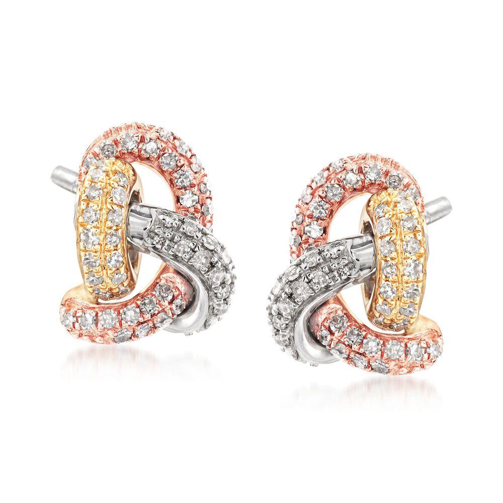 T W Diamond Love Knot Earrings In 14kt Tri Colored Gold
