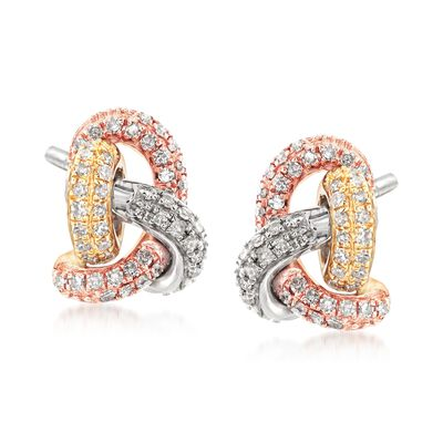 .30 ct. t.w. Diamond Love Knot Earrings in 14kt Tri-Colored Gold, , default