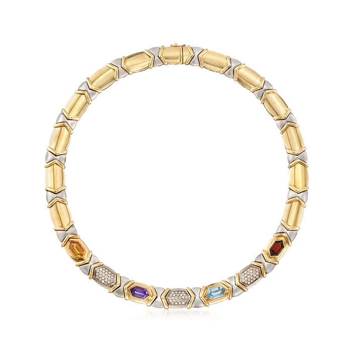 """C. 1980 Vintage 9.50 ct. t.w. Multi-Stone and 1.00 ct. t.w. Diamond Necklace in 14kt Two-Tone Gold. 16"""""""