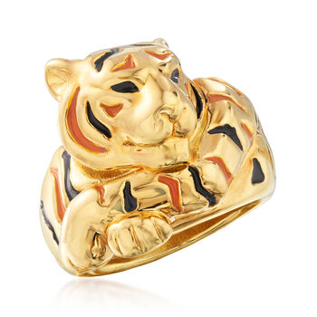 Italian Enamel Tiger Ring in 18kt Yellow Gold