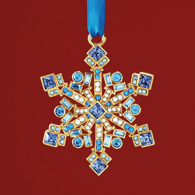 Ross-Simons 2018 Annual Multicolored Crystal Christmas Jewels Snowflake Ornament in Gold Plate- 9th Edition, , default