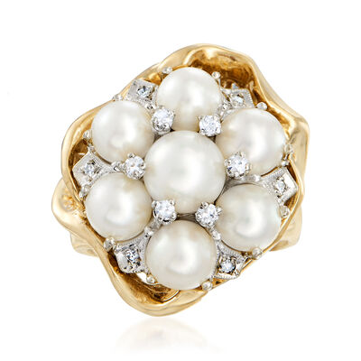 C. 1980 Vintage 6-7mm Cultured Pearl and .15 ct. t.w. Diamond Cluster Ring in 14kt Yellow Gold, , default