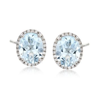 2.95 ct. t.w. Blue Aquamarine Stud Earrings With .10 ct. t.w. Diamonds in 14kt White Gold, , default