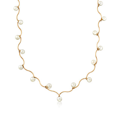 C. 1990 Vintage Cultured Pearl Tin Cup Necklace in 14kt Yellow Gold, , default