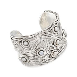 6-6.5mm Cultured Button Pearl Cuff Bracelet in Sterling Silver, , default